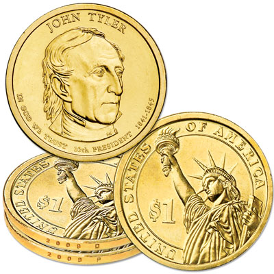 Image for 2009 P&D John Tyler Presidential Dollar Set, Uncirculated, MS60 from Littleton Coin Company