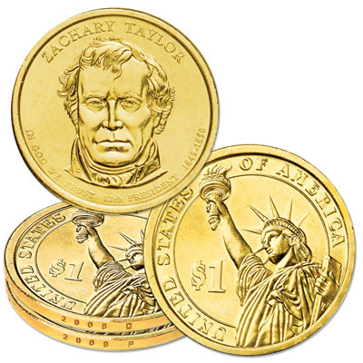 Image for 2009 P&D Zachary Taylor Presidential Dollar Set, Uncirculated, MS60 from Littleton Coin Company