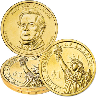 Image for 2010 P&D Millard Fillmore Presidential Dollar Set, Uncirculated, MS60 from Littleton Coin Company