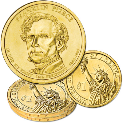 Image for 2010 P&D Franklin Pierce Presidential Dollar Set, Uncirculated, MS60 from Littleton Coin Company