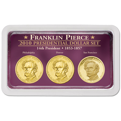 Image for 2010 Pierce Presidential Dollar in Exclusive PDS Showpak, Uncirculated/Proof from Littleton Coin Company