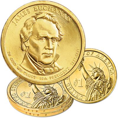 Image for 2010 P&D James Buchanan Presidential Dollar Set, Uncirculated, MS60 from Littleton Coin Company