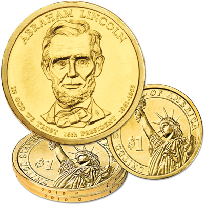 Image for 2010 P&D Abraham Lincoln Presidential Dollar Set, Uncirculated, MS60 from Littleton Coin Company