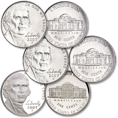 Image for 2007 PDS Jefferson Nickel Set (3-Coins), Uncirculated/Proof from Littleton Coin Company