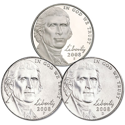 Image for 2008 PDS Jefferson Nickel Set (3 coins) from Littleton Coin Company