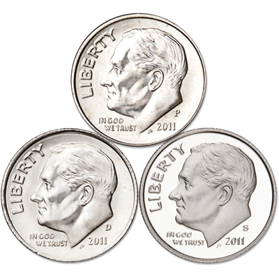 Image for 2011 PDS Roosevelt Dime Set (3 Coins) from Littleton Coin Company