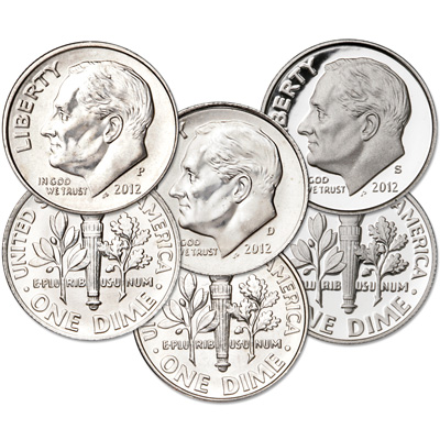 Image for 2012 PDS Roosevelt Dime Set (3 Coins) from Littleton Coin Company
