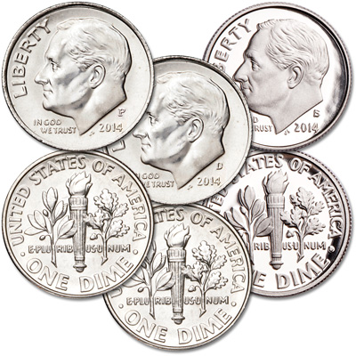 Image for 2014 PDS Roosevelt Dime Set (3 Coins) from Littleton Coin Company
