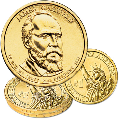Image for 2011 P&D James A. Garfield Presidential Dollar Set from Littleton Coin Company