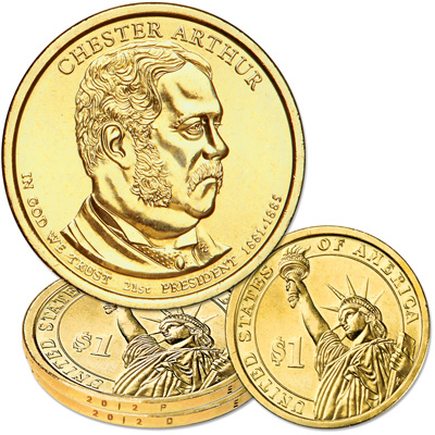 Image for 2012 P&D Chester A. Arthur Presidential Dollar Set from Littleton Coin Company