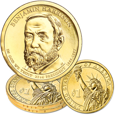 Image for 2012 P&D Benjamin Harrison Presidential Dollar Set from Littleton Coin Company