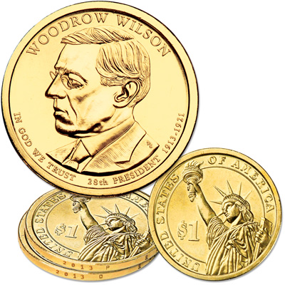 Image for 2013 P&D Woodrow Wilson Presidential Dollar Set from Littleton Coin Company