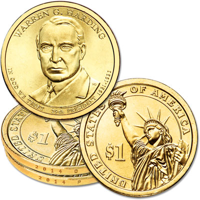 Image for 2014 P&D Warren G. Harding Presidential Dollar Set from Littleton Coin Company