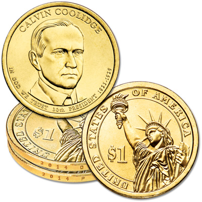 Image for 2014 P&D Calvin Coolidge Presidential Dollar Set from Littleton Coin Company