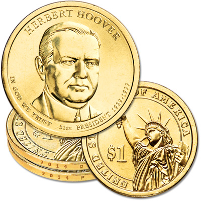 Image for 2014 P&D Herbert Hoover Presidential Dollar Set from Littleton Coin Company