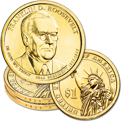 Image for 2014 P&D Franklin D. Roosevelt Presidential Dollar Set from Littleton Coin Company