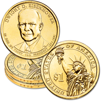 Image for 2015 P&D Dwight D. Eisenhower Presidential Dollar Set from Littleton Coin Company