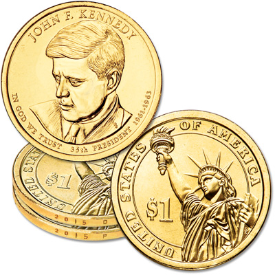 Image for 2015 P&D John F. Kennedy Presidential Dollar Set from Littleton Coin Company