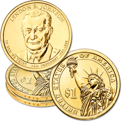 Image for 2015 P&D Lyndon B. Johnson Presidential Dollar Set from Littleton Coin Company