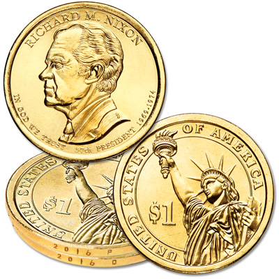 Image for 2016 P&D Richard M. Nixon Presidential Dollar Set from Littleton Coin Company