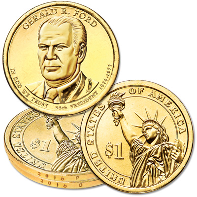 Image for 2016 P&D Gerald R. Ford Presidential Dollar Set from Littleton Coin Company