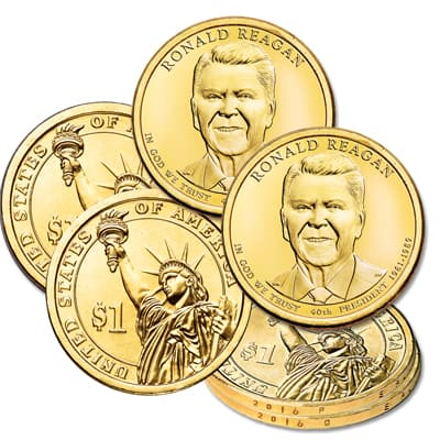 Image for 2016 P&D Ronald Reagan Presidential Dollar Set from Littleton Coin Company
