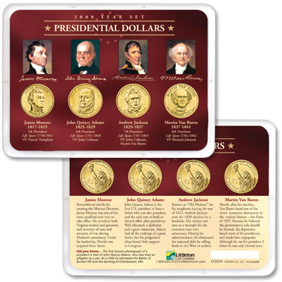 Image for 2008 Presidential Dollar Year Set in Showpak (4 coins), Uncirculated, MS60 from Littleton Coin Company