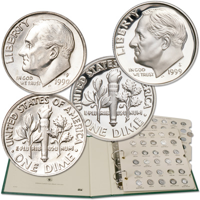 Image for 1990-1999 Complete Clad & Silver Roosevelt Dime Set (38 coins) from Littleton Coin Company