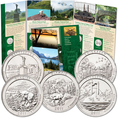 Image for 2011 P&D National Park Quarter Set (10 coins) with Folder from Littleton Coin Company