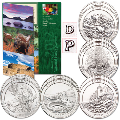 Image for 2012 P&D National Park Quarter Set (10 coins) with Folder from Littleton Coin Company