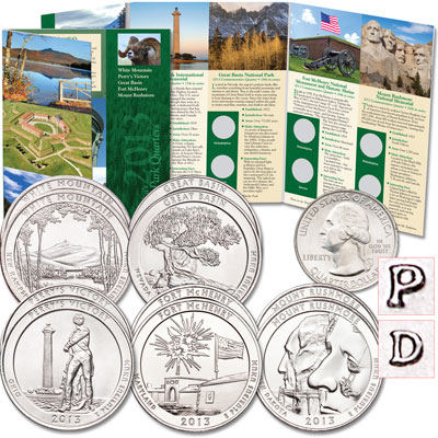 Image for 2013 P&D National Park Quarter Set (10 coins) with Folder from Littleton Coin Company
