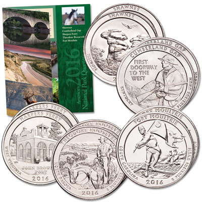 Image for 2016 P&D National Park Quarter Set with Folder from Littleton Coin Company