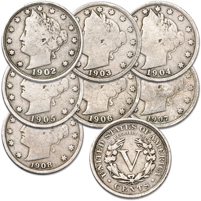 Image for 1902-1908 Liberty Head Nickel Set (7 coins), Circulated from Littleton Coin Company