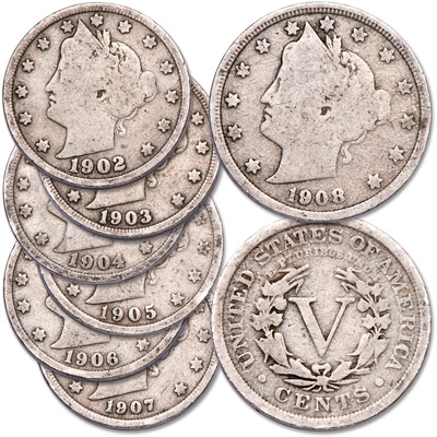 Image for 1902-1908 Liberty Head Nickel Set from Littleton Coin Company