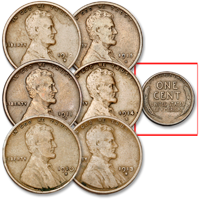 "Image for 1910-1915 Consecutive ""S"" Mint Lincoln Wheat Cent Set from Littleton Coin Company"