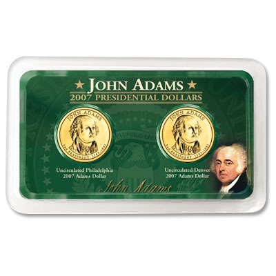 Image for 2007 P&D Adams Presidential Dollar in Exclusive Showpak®, Uncirculated, MS-60 from Littleton Coin Company