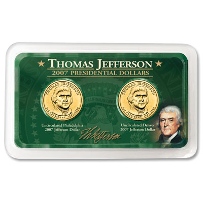 Image for 2007 P&D Jefferson Dollar in Exclusive Showpak®, Uncirculated, MS-60 from Littleton Coin Company