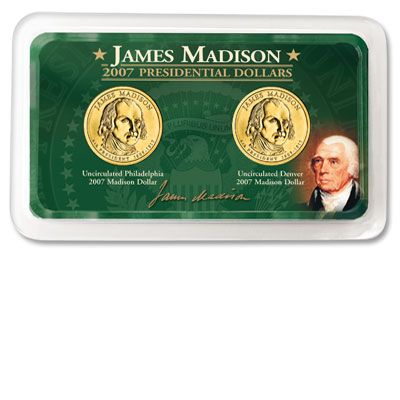 Image for 2007 P&D Madison Presidential Dollars in Exclusive Showpak, Uncirculated, MS60 from Littleton Coin Company