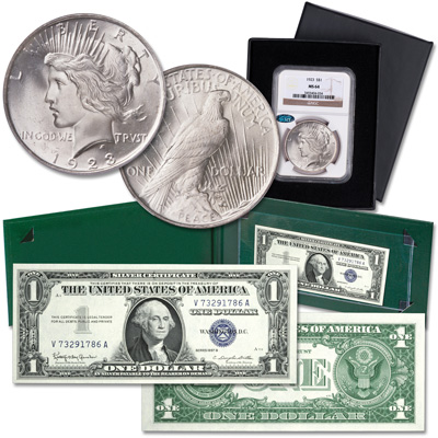 Image for 1957 $1 Silver Certificate & 1921-1935 Peace Dollar from Littleton Coin Company