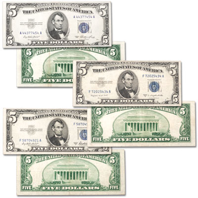 Image for 1953 Complete $5 Silver Certificate Set (3 Notes) from Littleton Coin Company