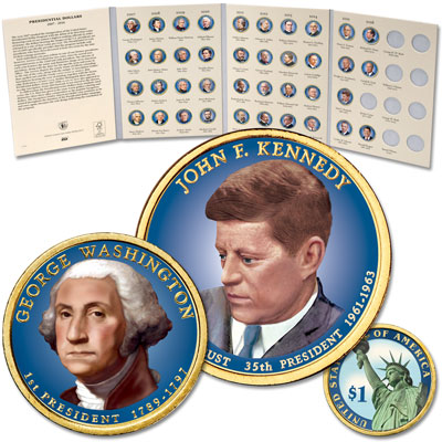 Image for 2007-2016 Complete Colorized Presidential Dollar Set with Folder from Littleton Coin Company