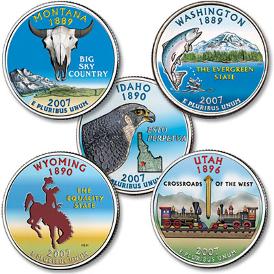 Image for 2007 Colorized Statehood Quarter Year Set from Littleton Coin Company