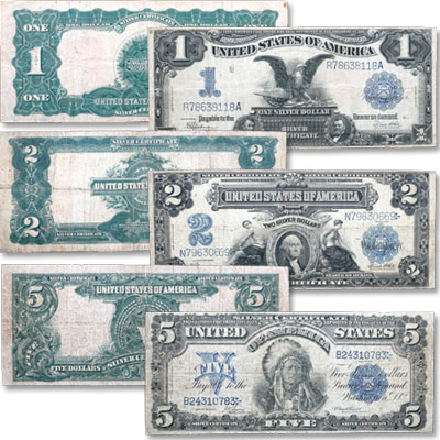 Image for Series 1899 $1, $2 & $5 Silver Certificate Type Set from Littleton Coin Company