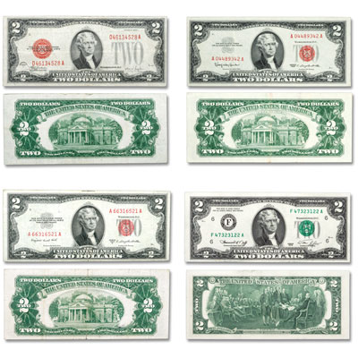 Image for 1928-1976 Small-Size $2 Bank Note Type Set from Littleton Coin Company
