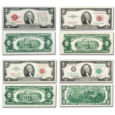 Image for 1928-1976 Complete Type Set of $2 Notes from Littleton Coin Company
