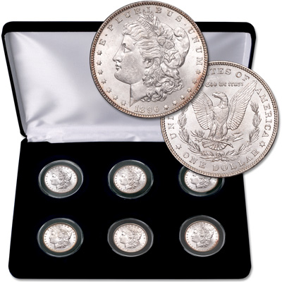 "Image for 1885-1896 ""P"" Mint Morgan Silver Dollars Set in Display Case from Littleton Coin Company"