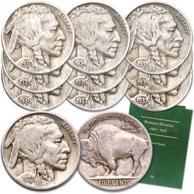 Image for 1929-1937 Buffalo Nickel Collection (10 coins) with Folder from Littleton Coin Company