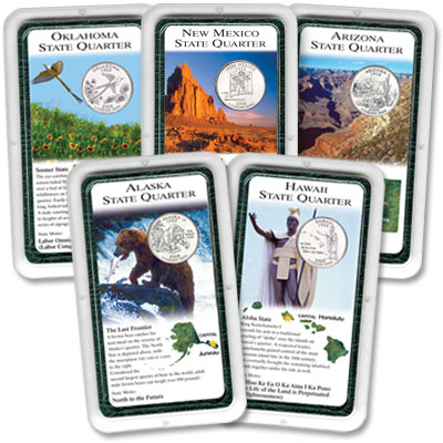 Image for All Five 2008 Statehood Quarters in Showpaks from Littleton Coin Company