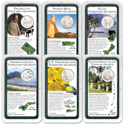 Image for All Six 2009 D.C. & U.S. Territories Quarters in Showpaks, Uncirculated, MS60 from Littleton Coin Company