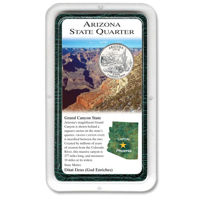 Image for 2008 Arizona Statehood Quarter in Exclusive Showpak from Littleton Coin Company